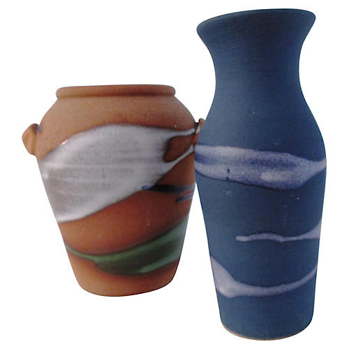 Glazed Studio Pottery Vases, S/2