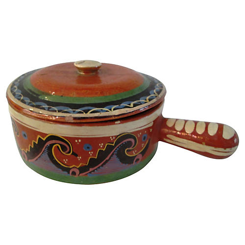 Mexican Redware Hand-Painted Crock