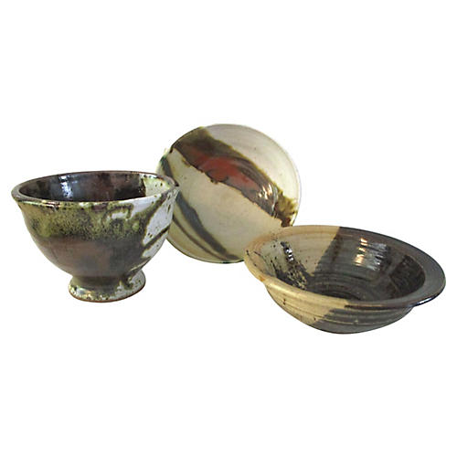Studio Abstract Pottery Bowls, S/3