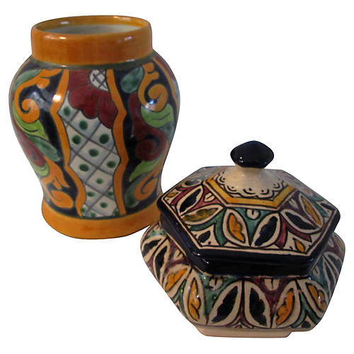 Mexican Talavera Vessel & Bowl