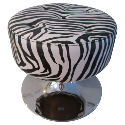Black & White Zebra-Print Chrome Ottoman