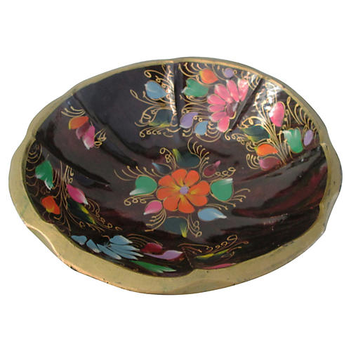 Large Mexican Hand-Painted Batea Bowl