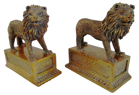 Gold Standing Lion Bookends, Pair