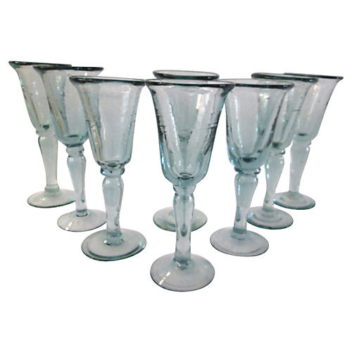 Mexican Glass Goblets, S/8