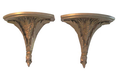 Brushed Gold Wheat Wall Brackets, Pair
