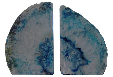 Brazilian Blue Geode Bookends - A Pair