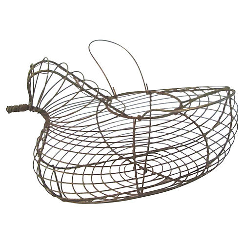 Wire Handled Hen Egg Basket