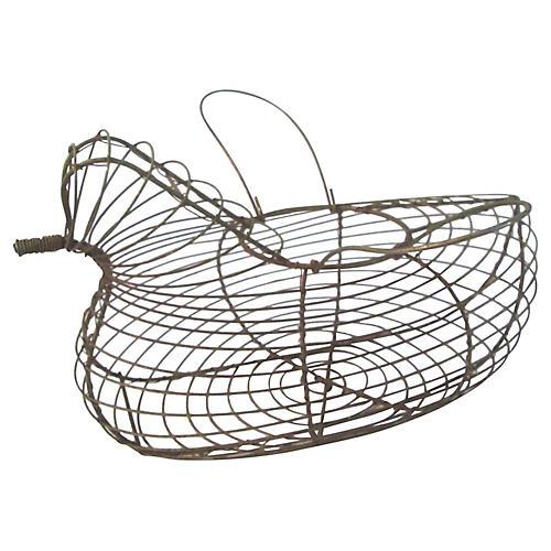 Wire Handled Hen Egg Basket