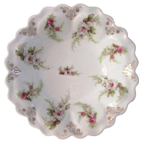 Antique Mignon White Rose Serving Bowl