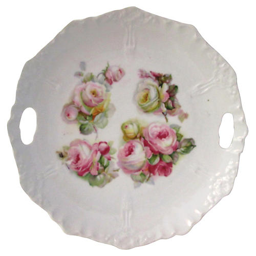 German Rose Double-Handled Serving Dish
