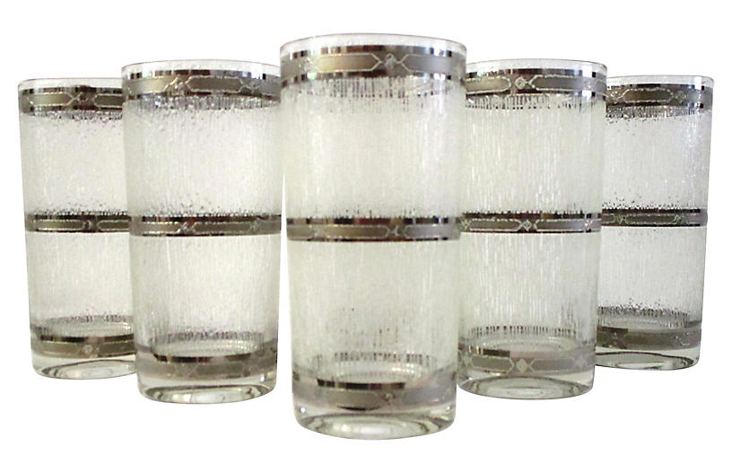 Silver Accent Highball Glasses, S/6