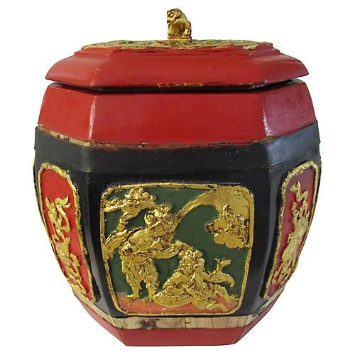 Lidded Chinese Paneled Wood Box