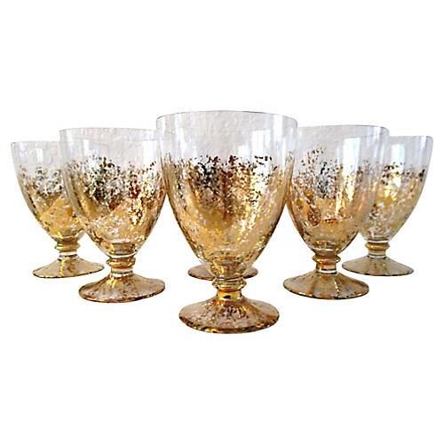 Italian Cristallerie Gold Goblets, S/6