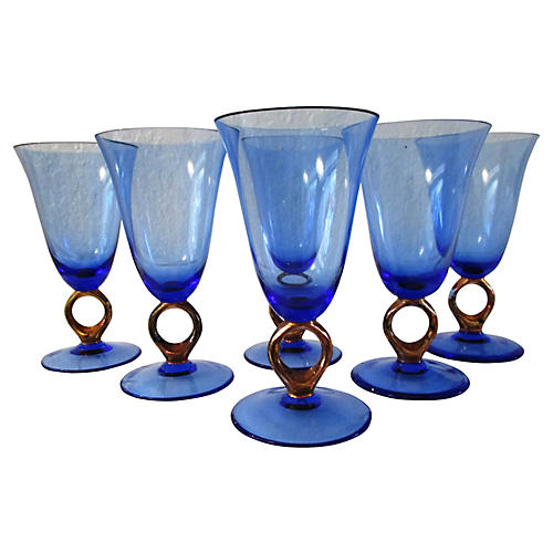 Modern Blue & Copper Wineglasses, S/6