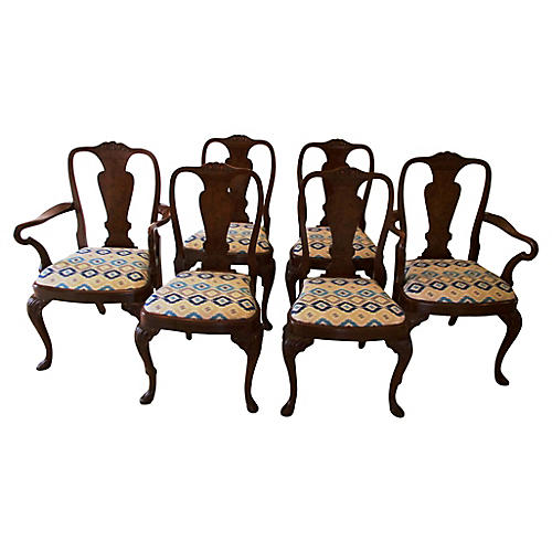 Antique Queen Anne-Style Chairs, S/6