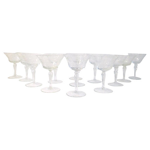 Midcentury Etched Cocktail Glasses, S/13