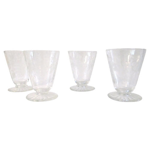 1950s Grape Etched Cordial Glasses, S/4