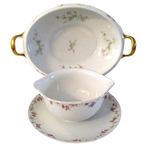 1960s Limoges Rose Serving Bowls, Pair