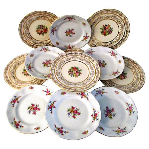 1950s Gold & Floral Spray Plates, S/12