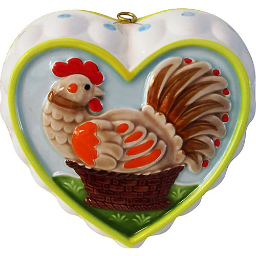 Hand-Painted Rooster Heart-Shaped Mold