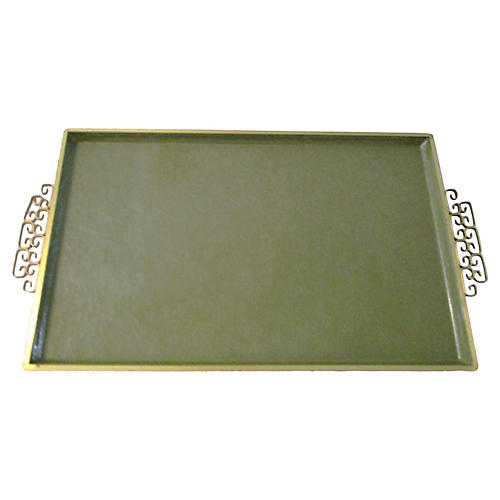 1970s Avocado Green Kyes Moiré Tray