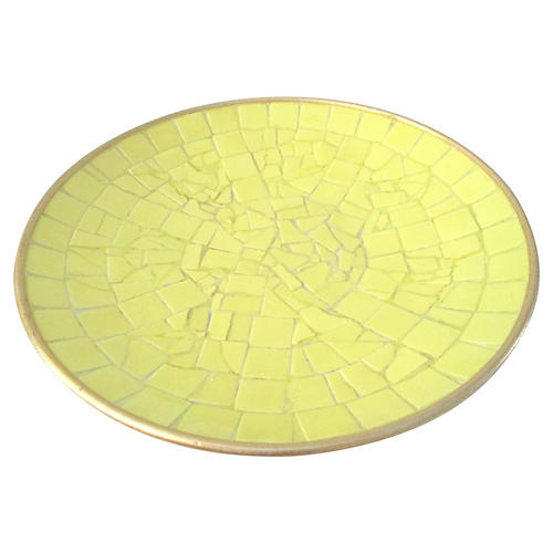 Midcentury Yellow Tile Shallow Bowl