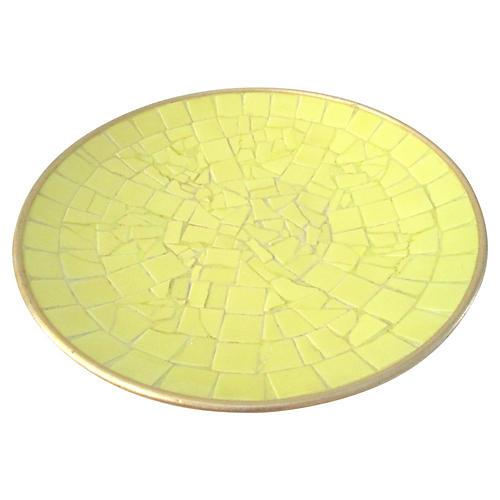 Midcentury Yellow Tile Shallow Bowl
