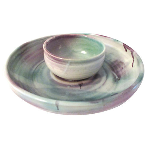 Studio Art Pottery Chip & Dip Set