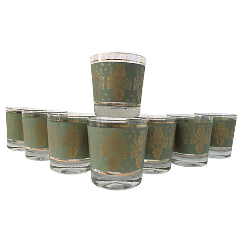 Gold & Green Lowball Glasses, S/8