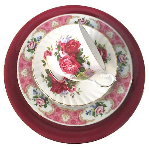 Mismatched Roses Dinner Set, 4 Pcs