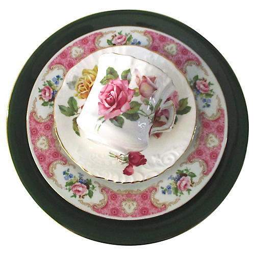 French Country Roses Dinner Set, 4 Pcs