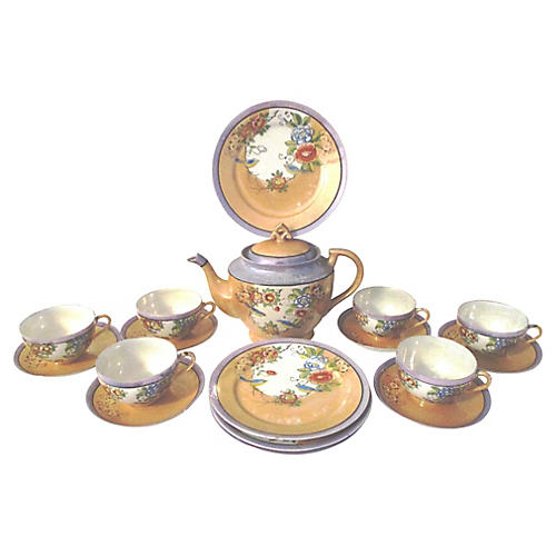Japanese Lusterware Tea Set, 19 Pcs