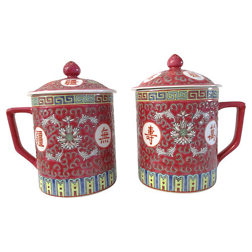 Chinese Lidded Tea Mugs, Pair