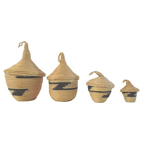 Rwandan Tutsi Nesting Baskets, S/4