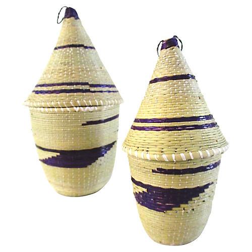 Rwandan Tan & Purple Tutsi Baskets, Pair
