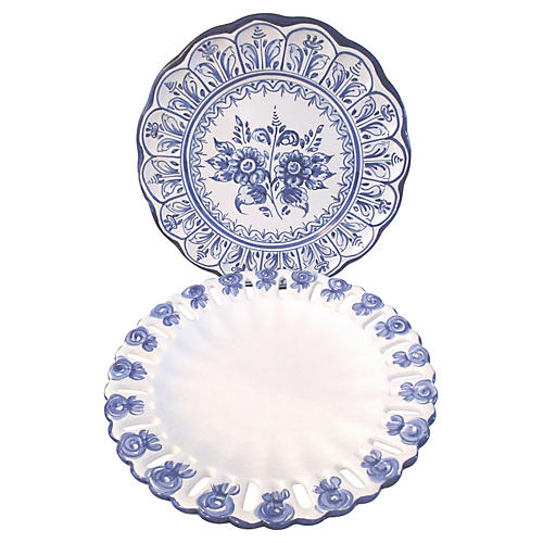 Blue & White Hanging Platters, S/2