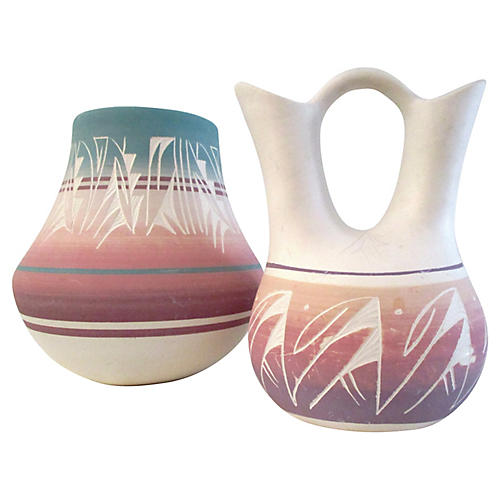 Southwestern Pottery Vases, S/2