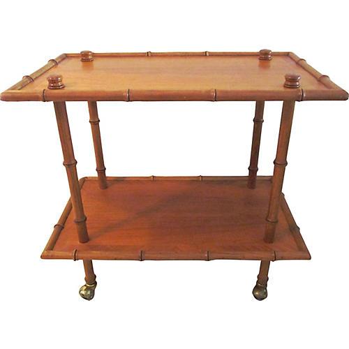 Midcentury Bamboo Bar Cart