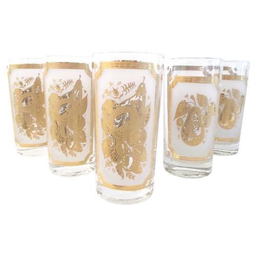 Golden Fruit Highball Glasses, S/5