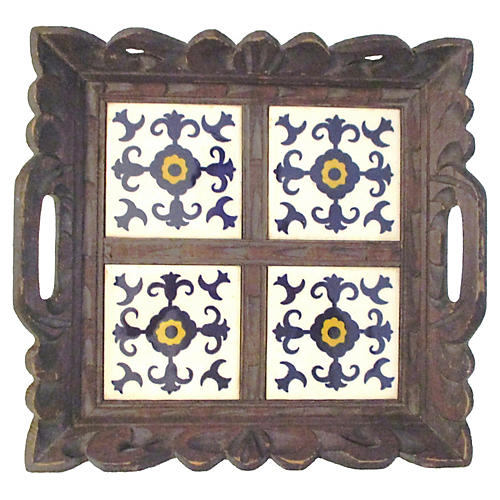 Mexican Carved Wood & Tile Tray