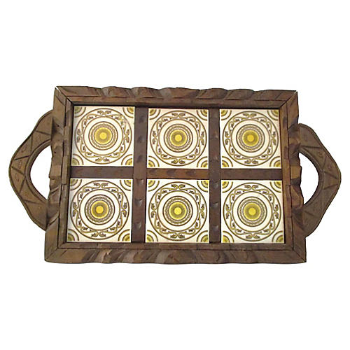 Mexican Carved Wood & Yellow Tile Tray