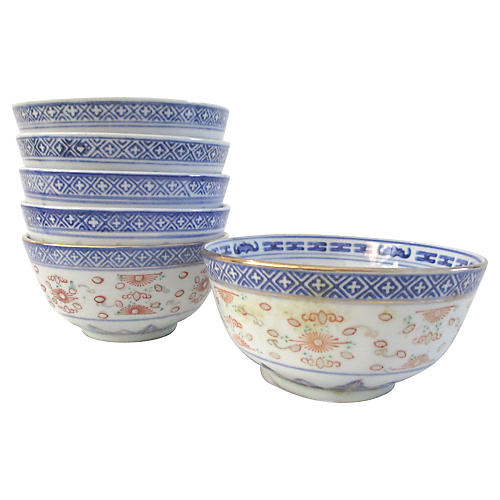 Chinese Blue Porcelain Rice Bowls, S/6