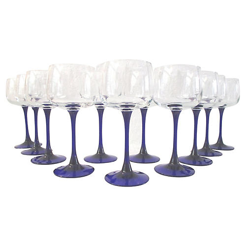 French Cobalt Blue Wineglasses, S/11