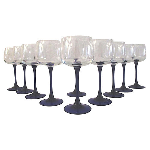 French Neptune Wineglasses, S/10