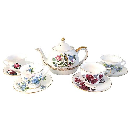 English Pheasant Tea Set, 9 Pcs