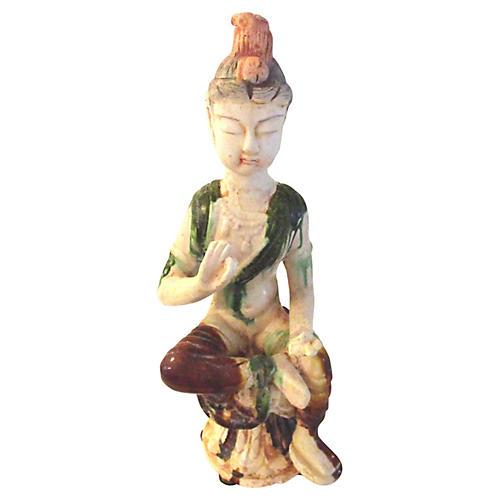 Midcentury Ceramic Drip-Glazed Goddess