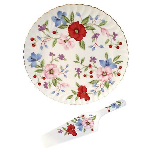 Floral Cake Platter & Server