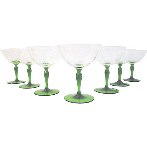Green Etched Floral Wineglasses, S/7