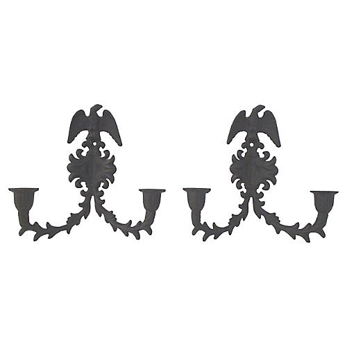 Black Iron Eagle Candle Sconces, Pair