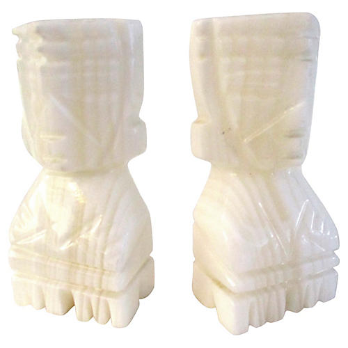 White Onyx Mayan Bookends, Pair